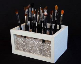 Small Wood and Acrylic Makeup Brush Holder - Makeup Brush Holder - Makeup Organizer - Makeup Brush Organizer - Brush Organizer