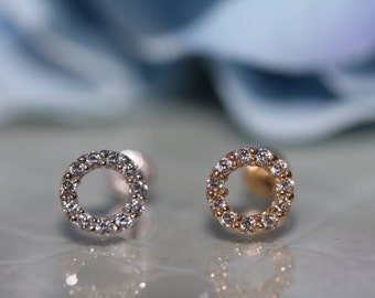 14K Pure Solid White/Yellow Gold Round Halo With Cubic Zirconia Screw-Back Stud Earrings (6mm) #S92300