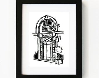 Chanel shop front, Illustration Art Print, Room decor, Gifts For Her, Wall Art, Poster
