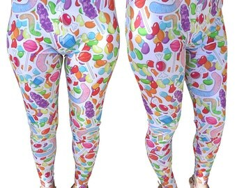 Candy Leggings Candies All Over Print Leggings Colorful Big In Stock & MTO Sz Xs-5XL