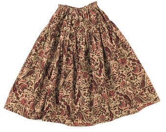 Corduroy Paisley Printed Cotton Long Skirt