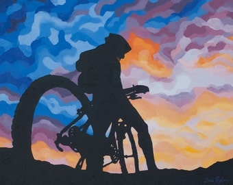 "Mountain Bike Art Print ~ Colorado Biking Art Print ~ ""Perfect Evening"" ~ Mountain Biking Poster ~ Biking Painting Reproduction"