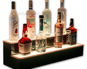 "2 Step 30"" Wide Liquor Bottle Display Steps with LED Lighting"