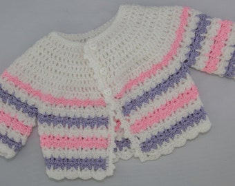 Baby jacket white with pink and parme stripes