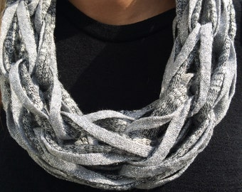 Designer silver and grey chain scarf