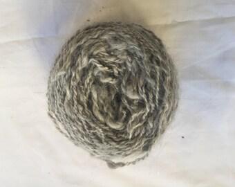 Hand spun yarn of soft gray and English Angora