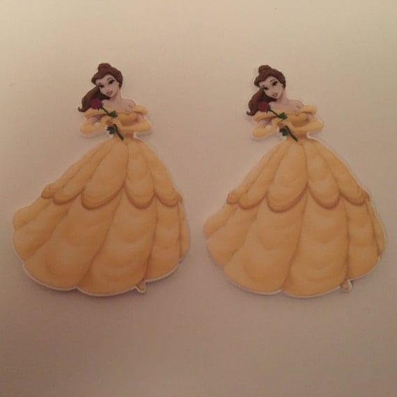 Reduced 2 Princess Belle Beauty and the Beast Planar Resin. Flatback cabochon bow centre embellishments shrinky dink cake topper Brooch diy