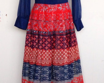Vintage 70s blue with red printed skirt maxidress