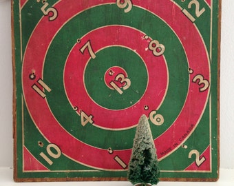 Vintage GAME BOARD * Dart Board Folk ART * Made in Canada* Paper on Plywood * Man Cave Decor * Christmas Decor * Ring Toss Game Board *