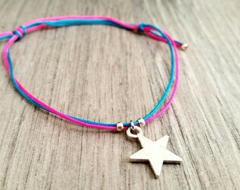 Bracelet neon pink and Blue Star