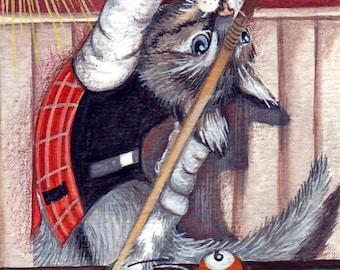 """Original ACEO print """"Carambola"""" billiard player Tiger-Print grey cat Aceo original-to collect"""