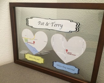 Our Map Heart Frame