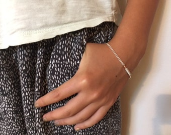 Dainty silver and copper bracelet