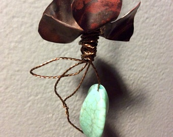 Long Copper Pendant Necklace