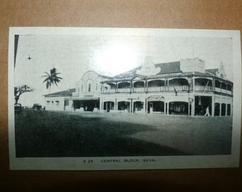 Vintage Cardboard Original Printed Picture of Central Block Suva, Old Collectible