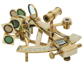 Brass Sextant measuring loupes tool loupe Includes adjustable arc, index mirror, sun filters and a horizon