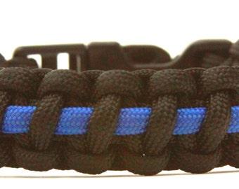 Thin Blue Line paracord survival bracelet