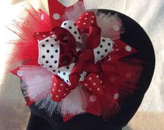 Red & White hair bow.