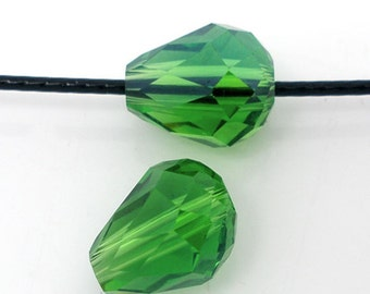 "10 glass beads ""drops"" - 11 * 8 mm - Green / P1 - 0685"
