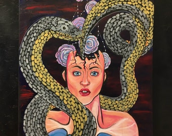Original! Snake and Floral Surrealistic Painting