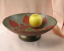 Vintage INDIAN VASE for fruits broad Etched Brass Vase Large Decor Hand Painted candy vase