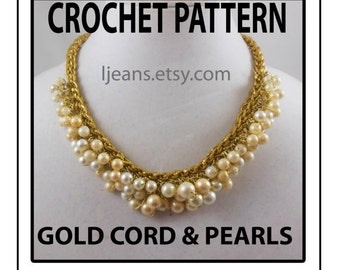 Crochet Pearl Necklace with Gold Cord Pattern