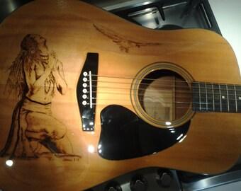 Guitar pirografata