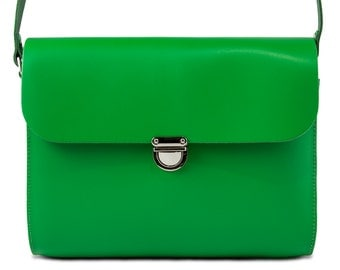 Green Leather Crossbody/Shoulder Bag made in London