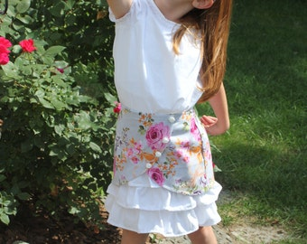 floral overlay skirt-great for weddings,birthday partys and school