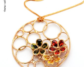 14K gold pendant with Gemstones in different colors