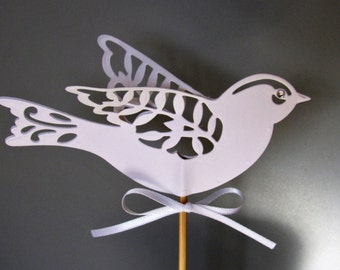 Two lace birds wedding cake topper in white