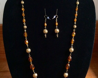 Reinvented vintage necklace and earring set