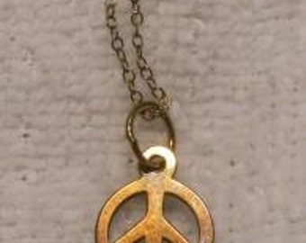 Vintage 925 Sterling Silver Chain and Small Peace Sign Charm