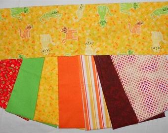 Kitty Cat fabric- Fat Quarter Bundle 8pc. Neon Cats/yarn/fishbone/yellow/green/orange/stripe/burgandy/dots (#O55)