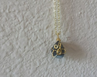 Gold wrapped Blue Agate Crystal