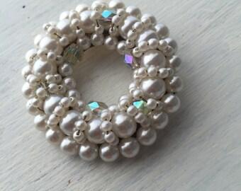 Vintage Pearl Beaded Broach