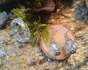 Jewelry set - ring (19 / 59) + earrings in transparent resin (51) - resin