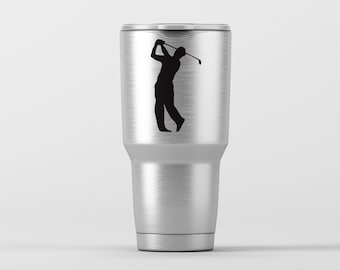 Golfer Silhouette (can be personalized) / Yeti Decal / Vinyl Decal / Yeti Tumbler Decal / Yeti Cup Decal / RTIC / * Tumbler Available *
