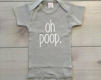 oh poop onesie, funny baby onesie, gerber onesie, poop baby onesie, custom baby onesie, oh poop, funny baby clothes, baby onesies