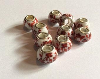 Porcelain beads / murano beads / European beads / red beads / flower beads / white beads / beads