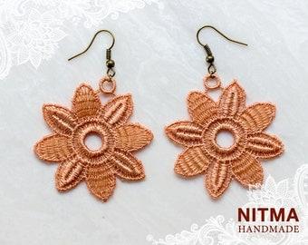 lace earrings -big  flower- bronze color -craft earring,dangle eariing
