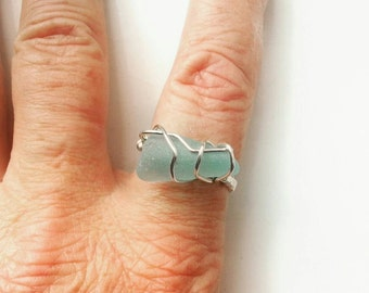 Pale Blue Sea Glass wirewrapped adjustable Ring. Free post UK