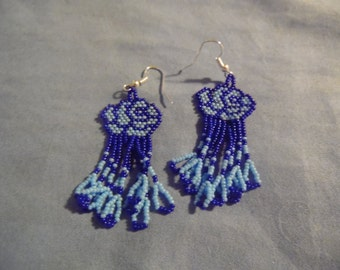 Blue Rose Dangle  Earrings