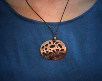 Copper pendant,  adjustable necklace, oval copper pendant, draft copper pendant, geometric pendant