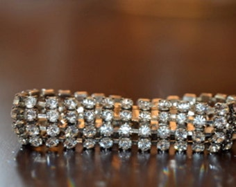 Rhinestone Bracelet Set in Silver Tone Metal, Approximately 7.25 inches