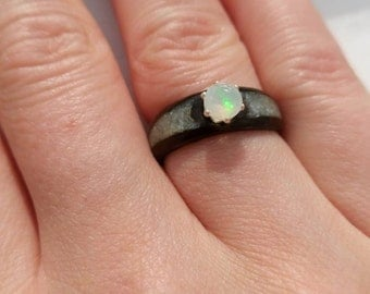 Opal and crushed pearl bentwood ring.