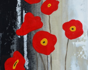 Six Red Poppies