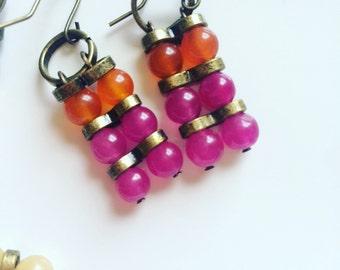 Orange and Majenta earrings