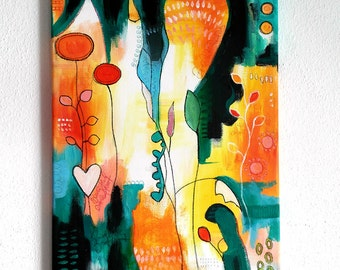 Intuitive painting on canvas (30 x 40 cm) original acrylic paintings, mixed media art, floral