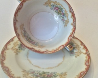 Vintage and rare Noritake China Colby double handle cream soup bowls with liner plates